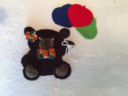 Teddy Bear with Balloons Wall Hanging