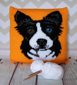 Border Collie/Sheepdog Pet Portrait Cushion Cover Knitting Pattern