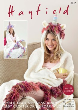 Unicorn Snugglers in Hayfield Bonus Aran, Sirdar Snuggly Baby Crofter DK & Wild - 8147 - Downloadable PDF