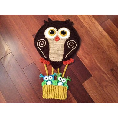 Hot Air Balloon Owl Wall hanging or blanket applique