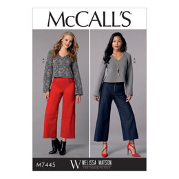 McCall's Misses' V-Neck Top and Cropped, Wide-Leg Pant M7445 - Sewing Pattern