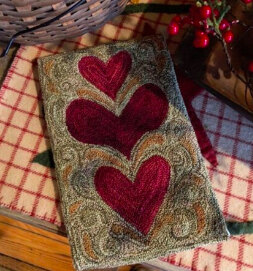 The Old Tattered Flag Wonky Hearts Punch Needle Pattern with Printed Weaver's Cloth - OTF2622 - Leaflet