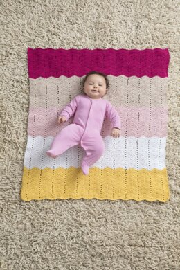 Happy Baby Ripple Afghan in Lion Brand Coboo - L80157 - Downloadable PDF