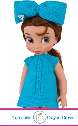 """Turquoise Crayon Dress fro 16"""" Disney Animators Dolls. Doll Clothes Knitting Pattern."""