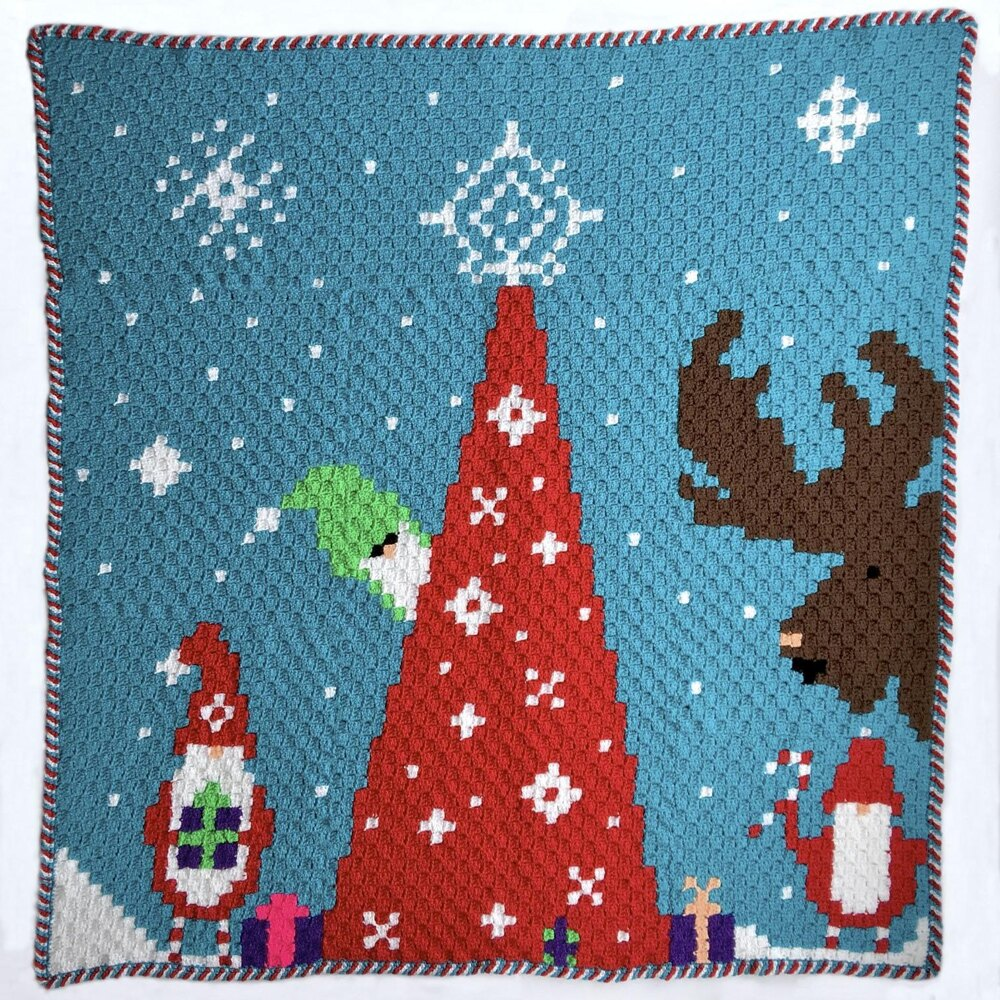 Gnome for Christmas C2C Blanket CAL Crochet pattern by Nana's Crafty Home