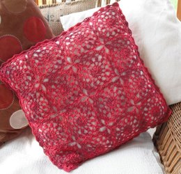 Fresh red crochet cushion