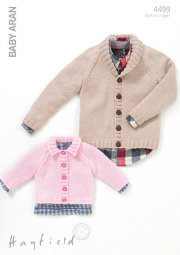 Boy's and Girl's Cardigans in Hayfield Baby Aran - 4499 - Downloadable PDF