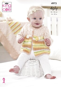 Jacket, Hat, Shoes and Blanket in King Cole Big Value Baby 4Ply - 4975 - Downloadable PDF