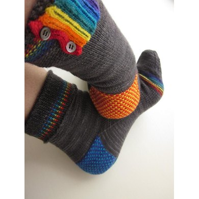 Rainbow Pipes and Linen Stitch Socks