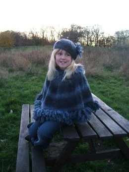 """""""Storm"""" Child/Adult Poncho with Matching Beret"""