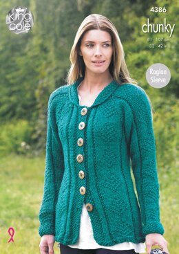 Coat & Cardigan in King Cole Chunky - 4386 - Downloadable PDF