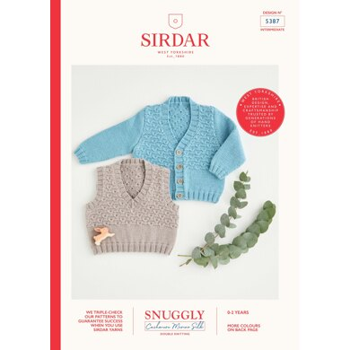 Cardigan and Vest in Sirdar Snuggly Cashmere Merino Silk DK - 5387 - Downloadable PDF