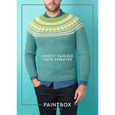 """Forest Fairisle Yoke Sweater"" : Sweater Knitting Pattern for Men in Paintbox Yarns Aran Yarn"