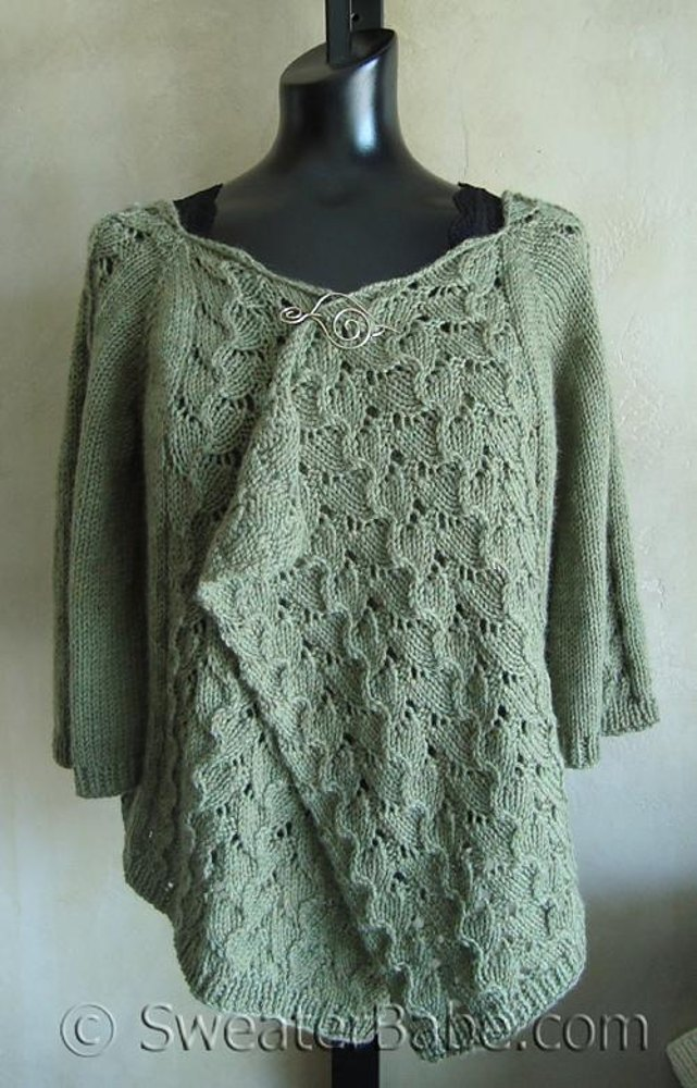 102 Drape Front Top Down Lacy Cardigan Knitting Pattern