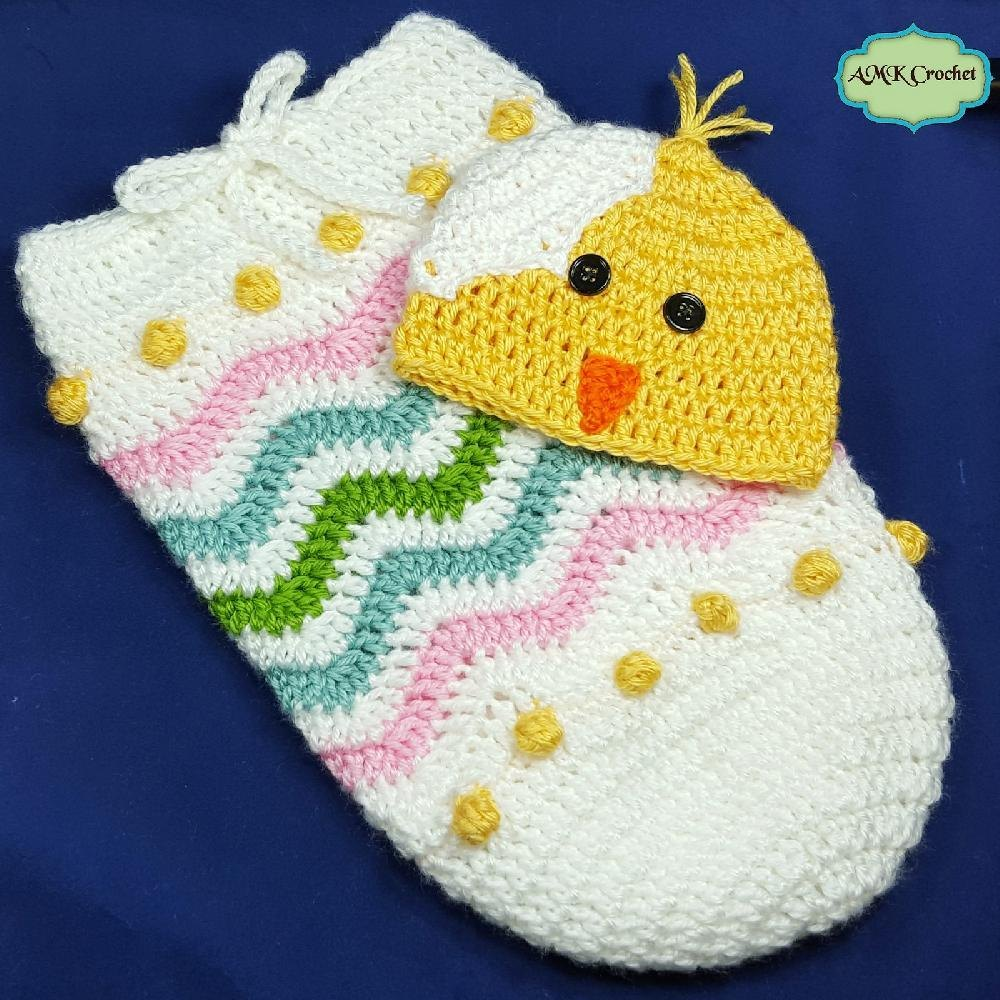 Newborn Easter Egg Chick Hat And Cocoon Photo Prop Crochet