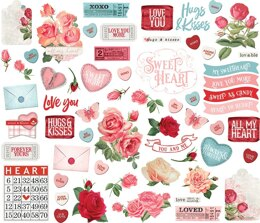 Simple Stories Simple Vintage My Valentine Bits & Pieces Die-Cuts 60/Pkg - 613127