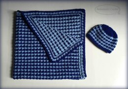 Baby Heartbeat Reversible Afghan & Hat Set