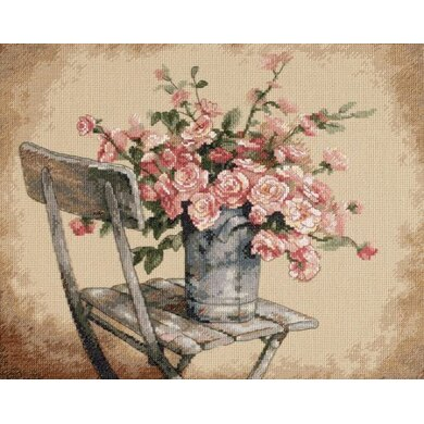 Dimensions Roses on White Chair Cross Stitch Kit
