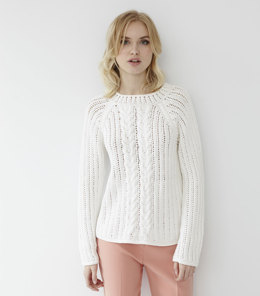 Cable Eyelet Sweater in Debbie Bliss Mia - Downloadable PDF