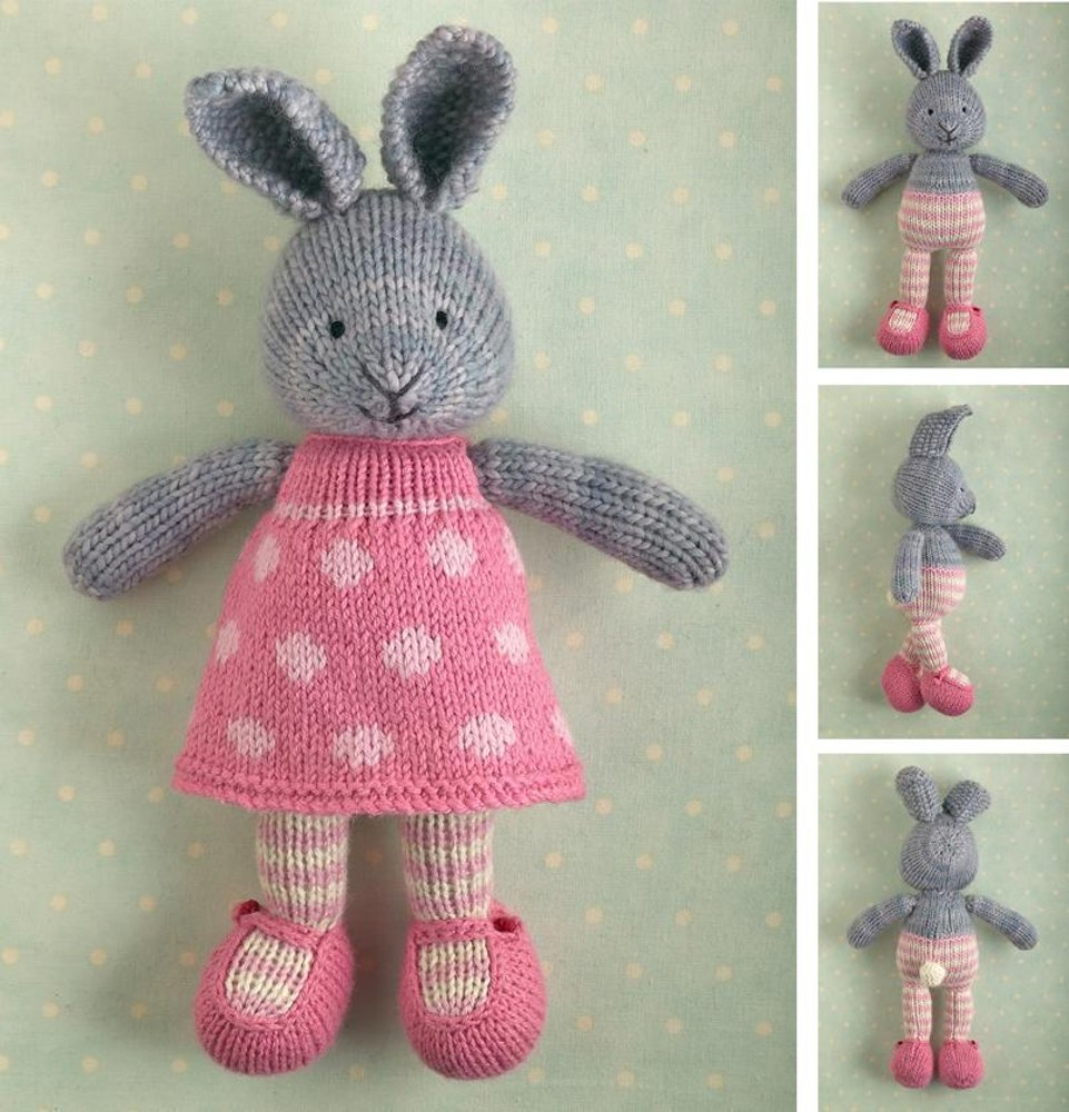 Bunny girl in a dotty dress Knitting pattern by Julie Williams