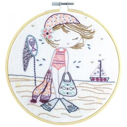 Un Chat Dans L'Aiguille When Salomé Goes to the Beach Embroidery Kit  - Sold Without Hoop