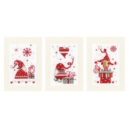 Vervaco Christmas Gnomes Cards Set (3pcs) Cross Stitch Kit - 10.5cm x 15cm
