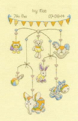 DMC Cute Mobile Sampler 14 Count Cross Stitch Kit