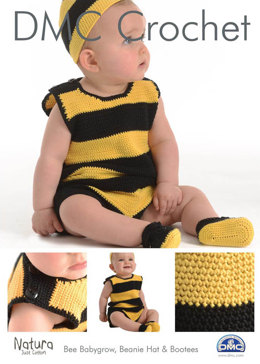Bee Babygrow, Beanie Hat & Booties in DMC Natura Just Cotton - 15264L/2