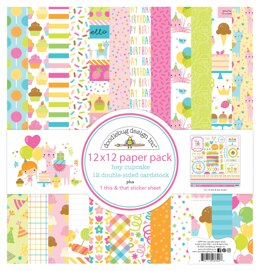 """Doodlebug Double-Sided Paper Pack 12""""X12"""" 12/Pkg - Hey Cupcake"""
