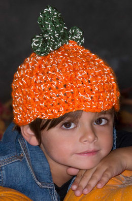 Lil' Pumpkin Hat in Red Heart Reflective - LW4437EN