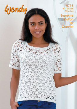Short Sleeve and Sleeveless Tops in Wendy Supreme Cotton DK - 5718
