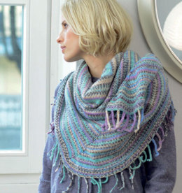 Shawl with Fringe in Regia 6 Ply Color 150g - R0262 - Downloadable PDF