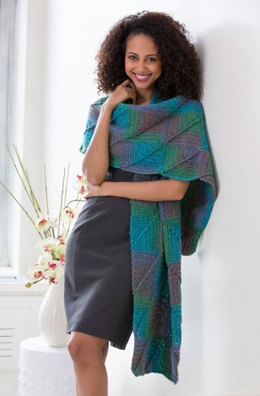 Crocheted Mitered Square Shawl in Red Heart Boutique Midnight - LW4052 - Downloadable PDF