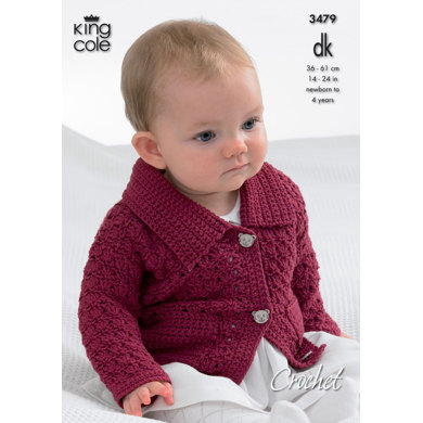 Collared Cardigan, Sweaters with Long and Short Sleeves and Waistcoat in King Cole DK - 3479