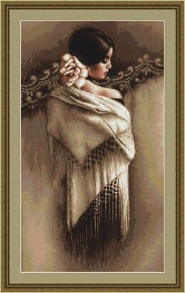 Luca-S Spanish Lady with Shawl Petit Point Tapestry Kit - 18cm x 32cm
