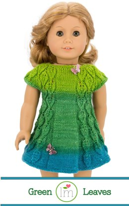 Green Leaves Dress  for 18 inch dolls, Doll Clothes Knitting Pattern
