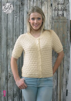 Basket Weave Raglan Sweater and Cardigan in King Cole Authentic DK - 4124 - Downloadable PDF