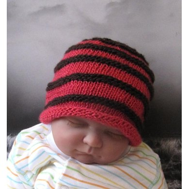 Knit Baby Hats Patterns Roll Brim : Baby Simple Stripe Roll Brim Beanie Hat Knitting pattern by madmonkeyknits ...