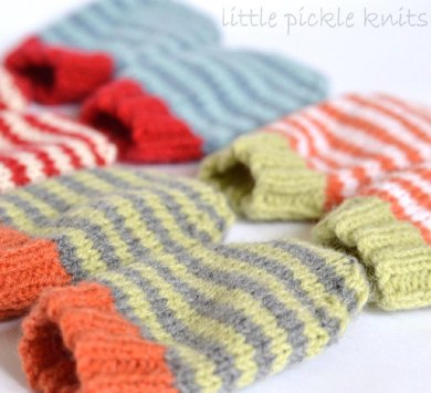 Knitting Pattern For Gloves 4 Ply : 4ply stripe baby mittens Knitting pattern by Little Pickle ...