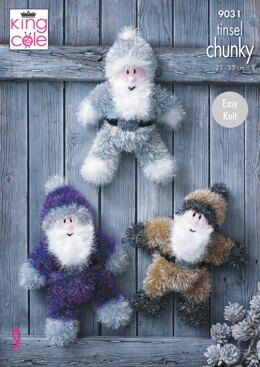 Tinsel Santas in King Cole Tinsel Chunky - 9031pdf - Downloadable PDF