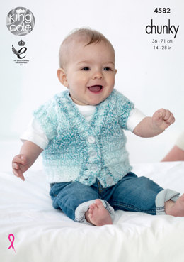 Waistcoats in King Cole Baby Soft Chunky - 4582 - Leaflet