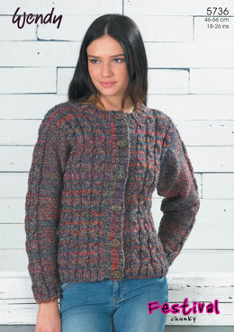 Mock Cable Cardigan and Sweater Vest in Wendy Festival Chunky - 5736