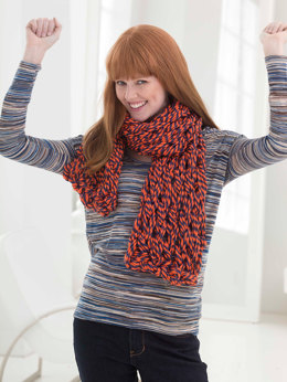 Go Broncos Arm Knit Scarf in Lion Brand Hometown USA Multi - L40028B