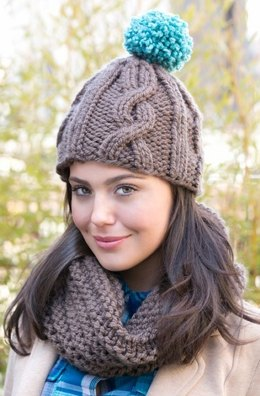 Cabled Hat with Matching Cowl in Red Heart Lisa Big - LW3669EN