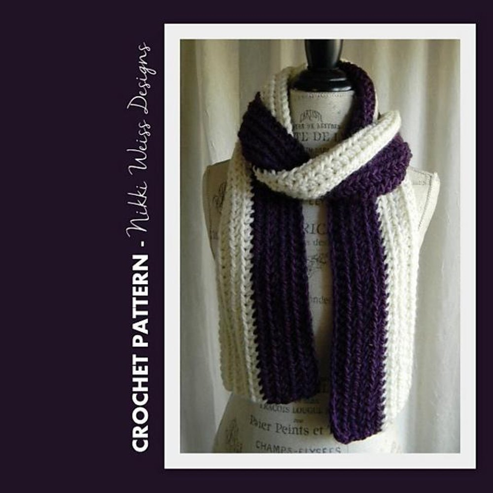 Charisma Yarn Baby Blanket: Two-Color Charisma Scarf Crochet Pattern By