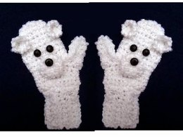 737 Polar Bear Crochet Mittens Age 3 to Adult