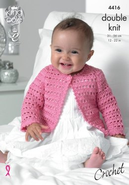 Crochet Dress, Cardigan and Hat in King Cole Cherish DK and Cherished DK - 4416 - Leaflet