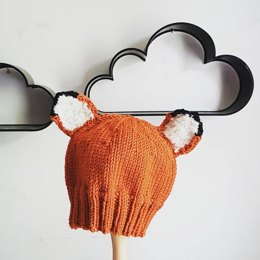 Baby's Fox Hat for Straight or Circular Needles