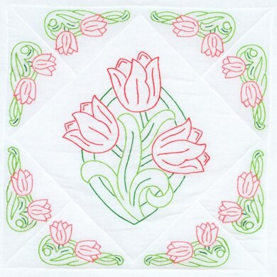 Jack Dempsey Stamped White Quilt Blocks 6Pkg - Tulips - 18in x 18in