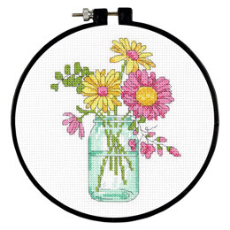Dimensions Summer Flowers Cross Stitch Kit - 15cm x 15cm